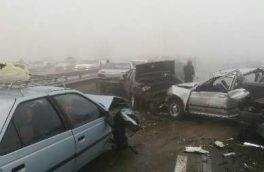 تصادف زنجیره ای دهها خودرو در مشهد
