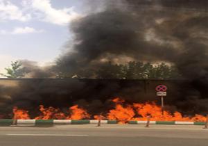 آسیب ۱۰ خودرو در حریق جوی آب خیابان شریعتی/ چند درخت آتش گرفت