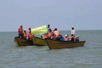 رژه دریایی دوستداران محیط زیست در خلیج گرگان برگزارشد